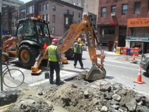 Excavating for fire sprinkler main install