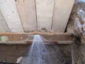 Lead water line leak