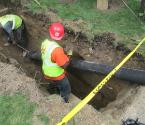 Ductile iron water main installation