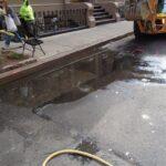Water in roadway from water main leak