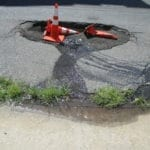 Water main leak in roadway