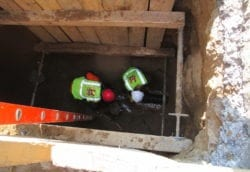 Installing new cast iron sewer pipe