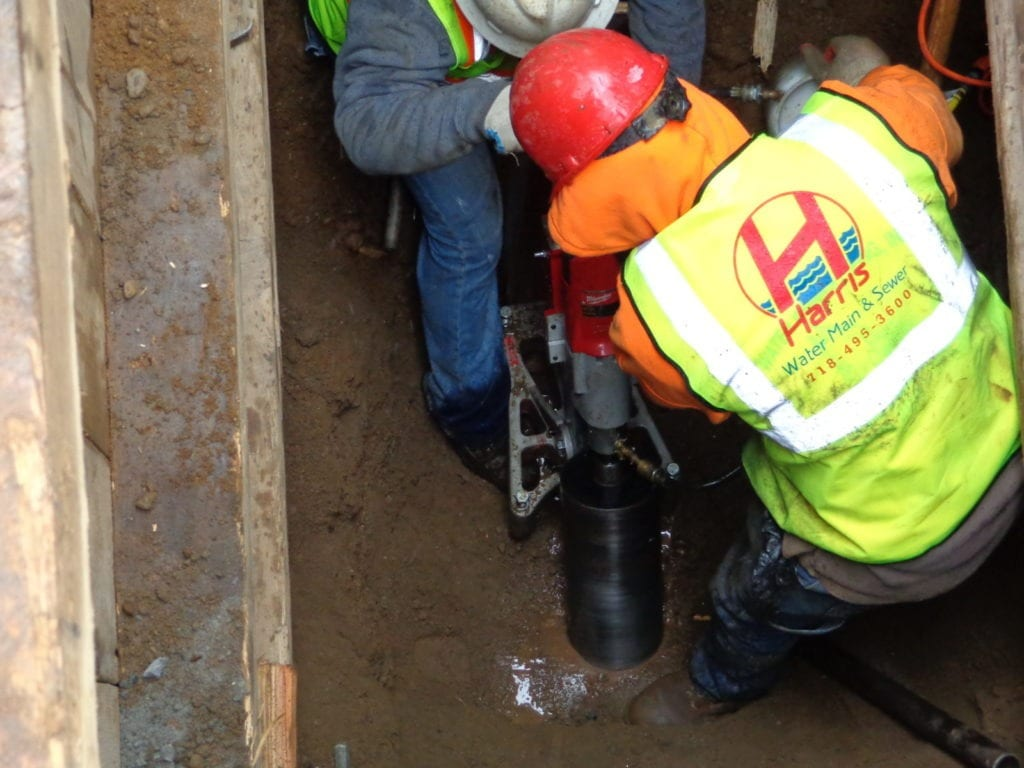 Core drill for new sewer connection