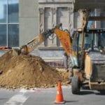 Sewer pipe installation under sidewalk