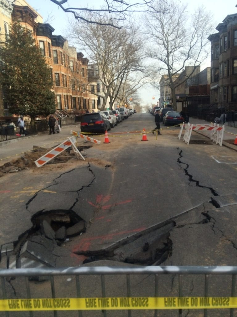 Roadway collapse due to broken water main
