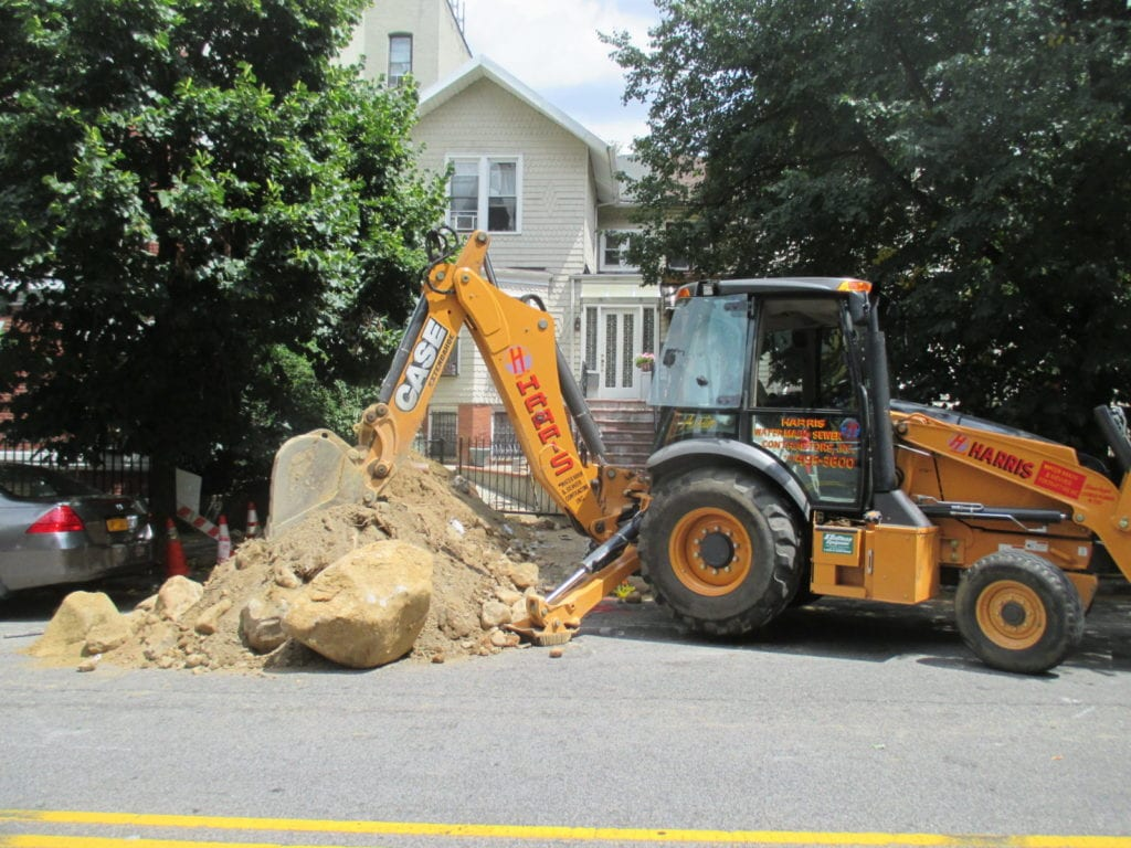 Sewer installation in progress