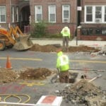 Digging for new water main installation