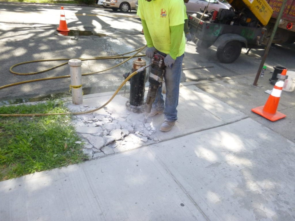 Preparing for removal of fire hydrant