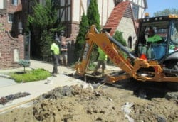 Excavating for sewer