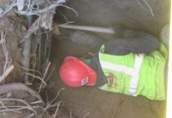 Clearing roots from pipe