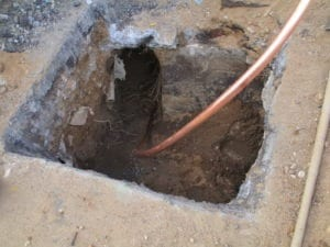 Copper water line install