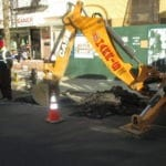 Street excavation for pipe repair