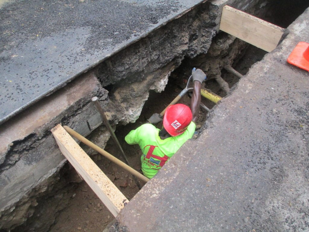 Installing shoring for safe work conditions