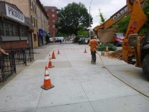 preparing to excavate sidewalk