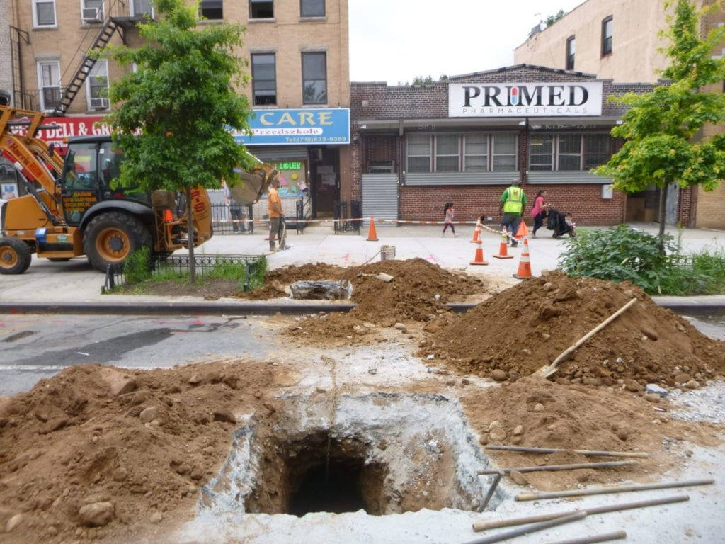 Roadway excavation for new copper water line