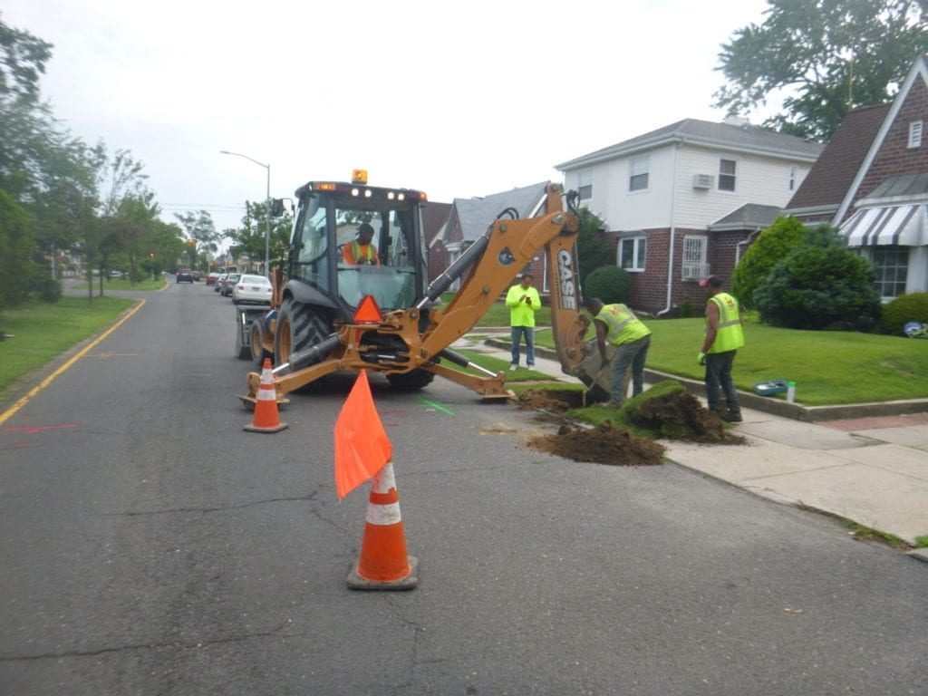 Excavating for new copper water line install