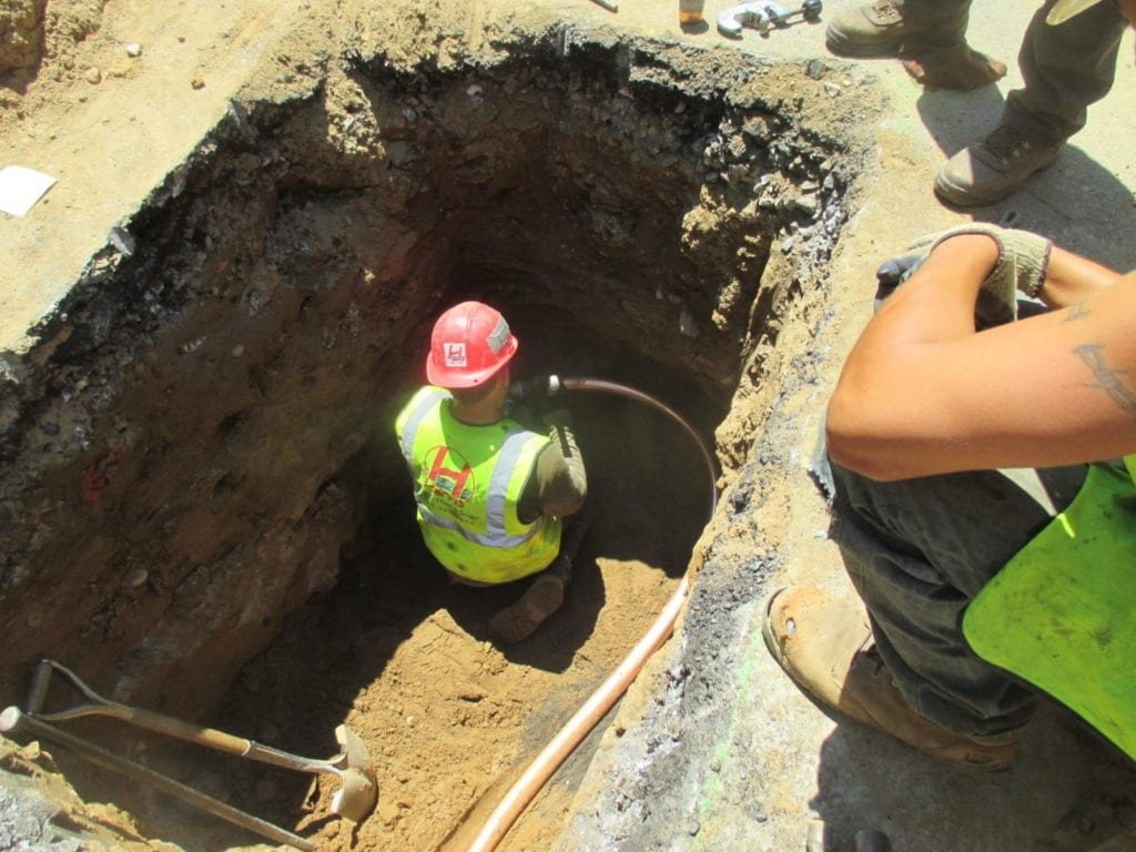 connecting new copper water main to city water main