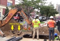 Installing new cast iron sewer line brooklyn