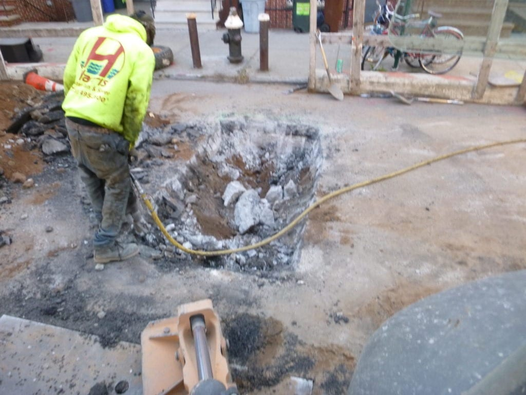 Opening street for new sewer