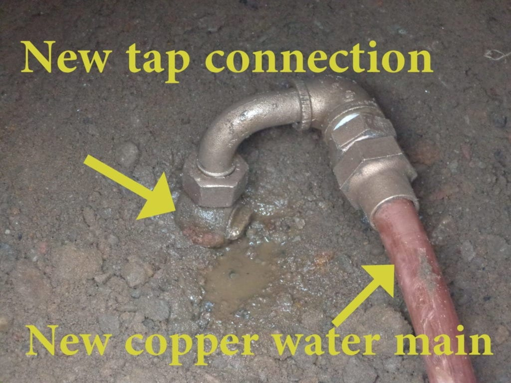 New tap connected to new water main