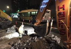 Excavating for the new water main