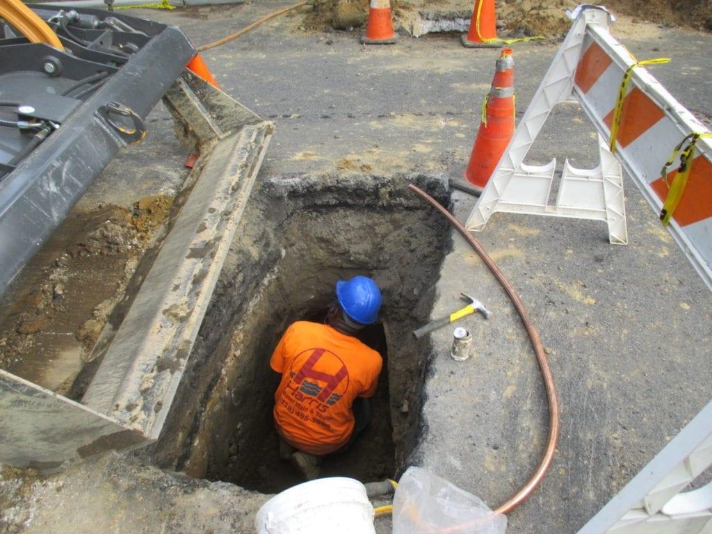 Water line tunnels below ground