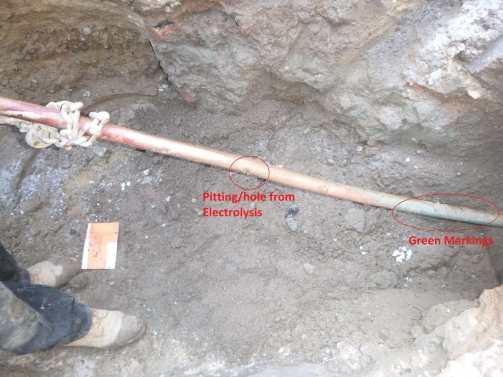 Electrolysis on copper water main