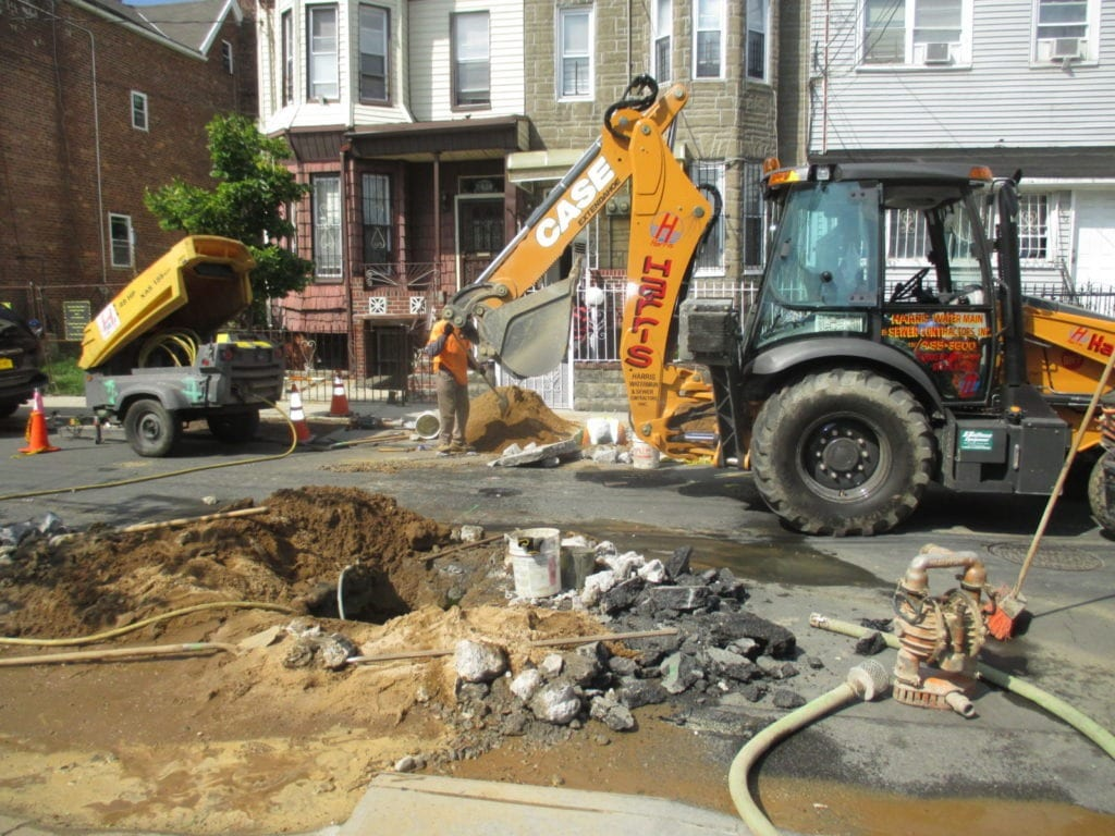 Excavating for a new combined water main