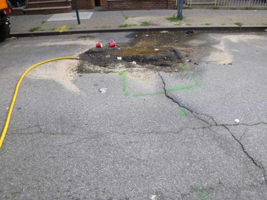 The water main test hole