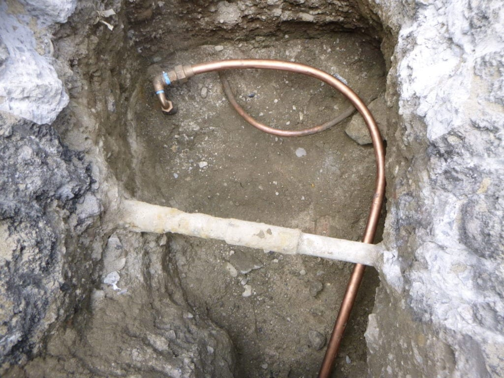 New water line connection to city main
