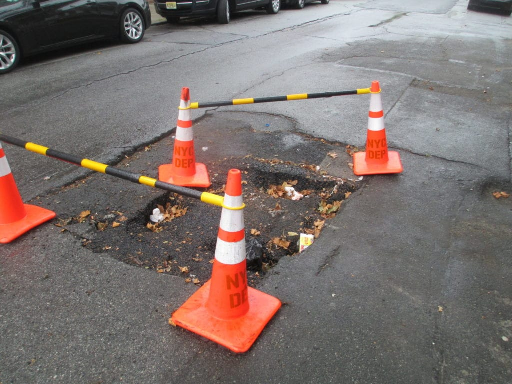 roadway sinkhole East new york Brooklyn