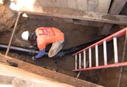 New cast iron sewer line