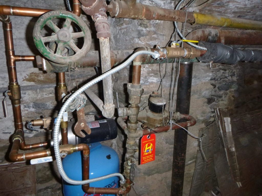 new water main connection inside house