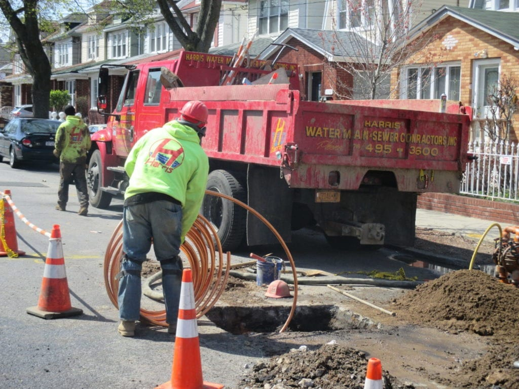 Copper water main installation