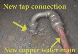 New tap and water main