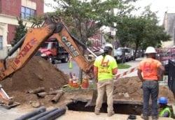 Sidewalk excavation for sewer repair