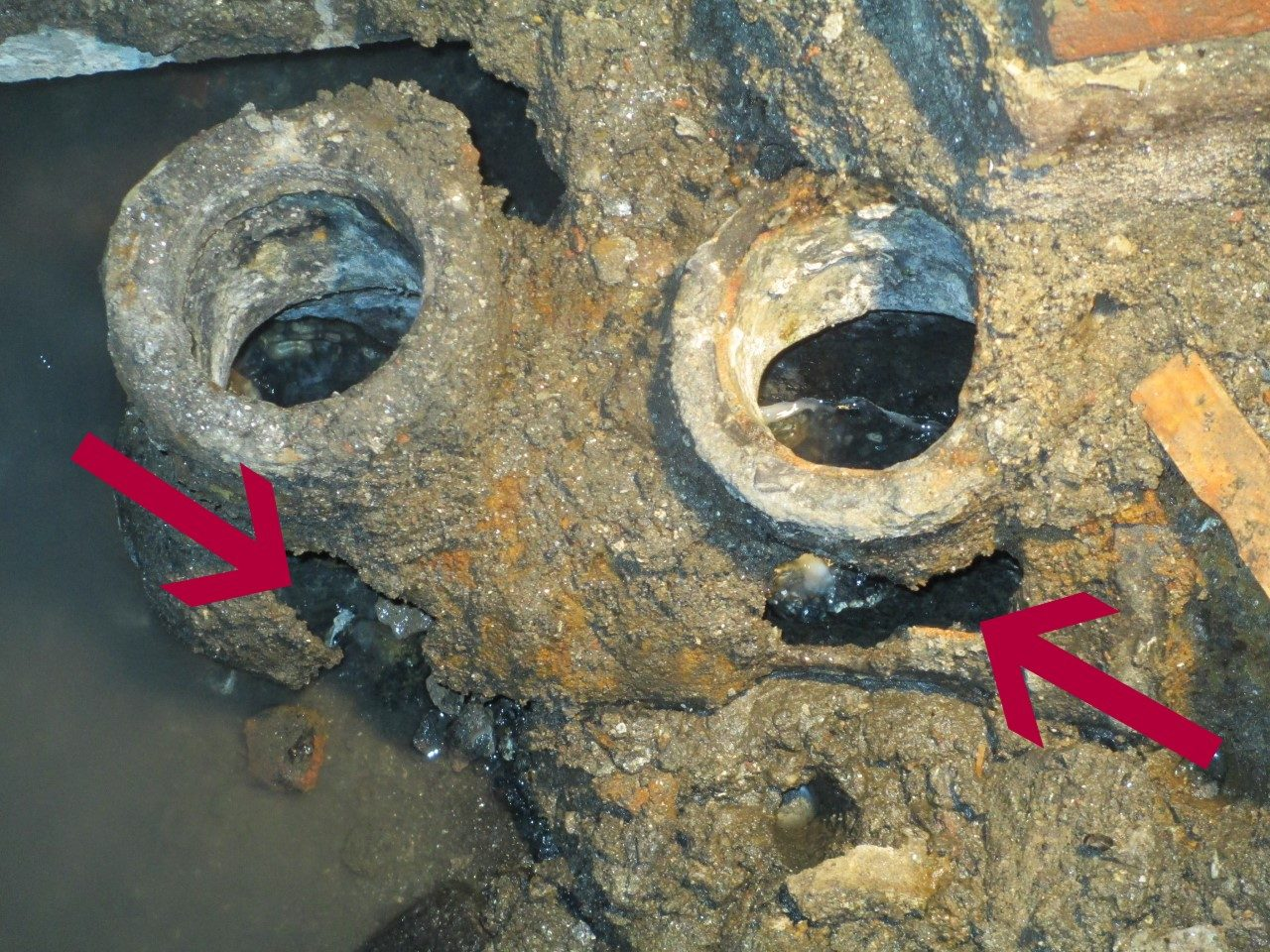 corroded sewer pipes