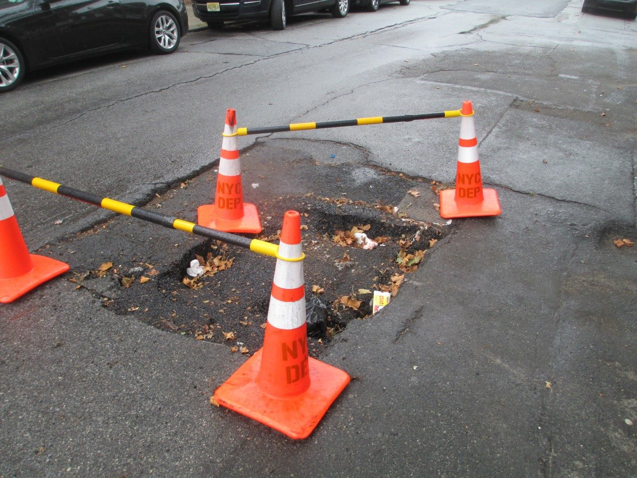 sinkhole from broken sewer