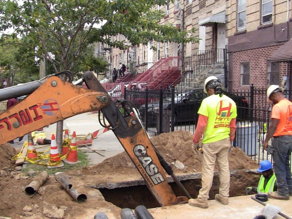 sewer line excavation in NYC