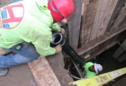 New cast iron sewer line being installed