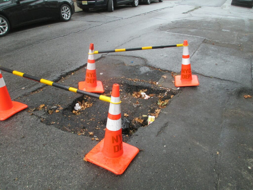 Sinkhole caused by a broken water main